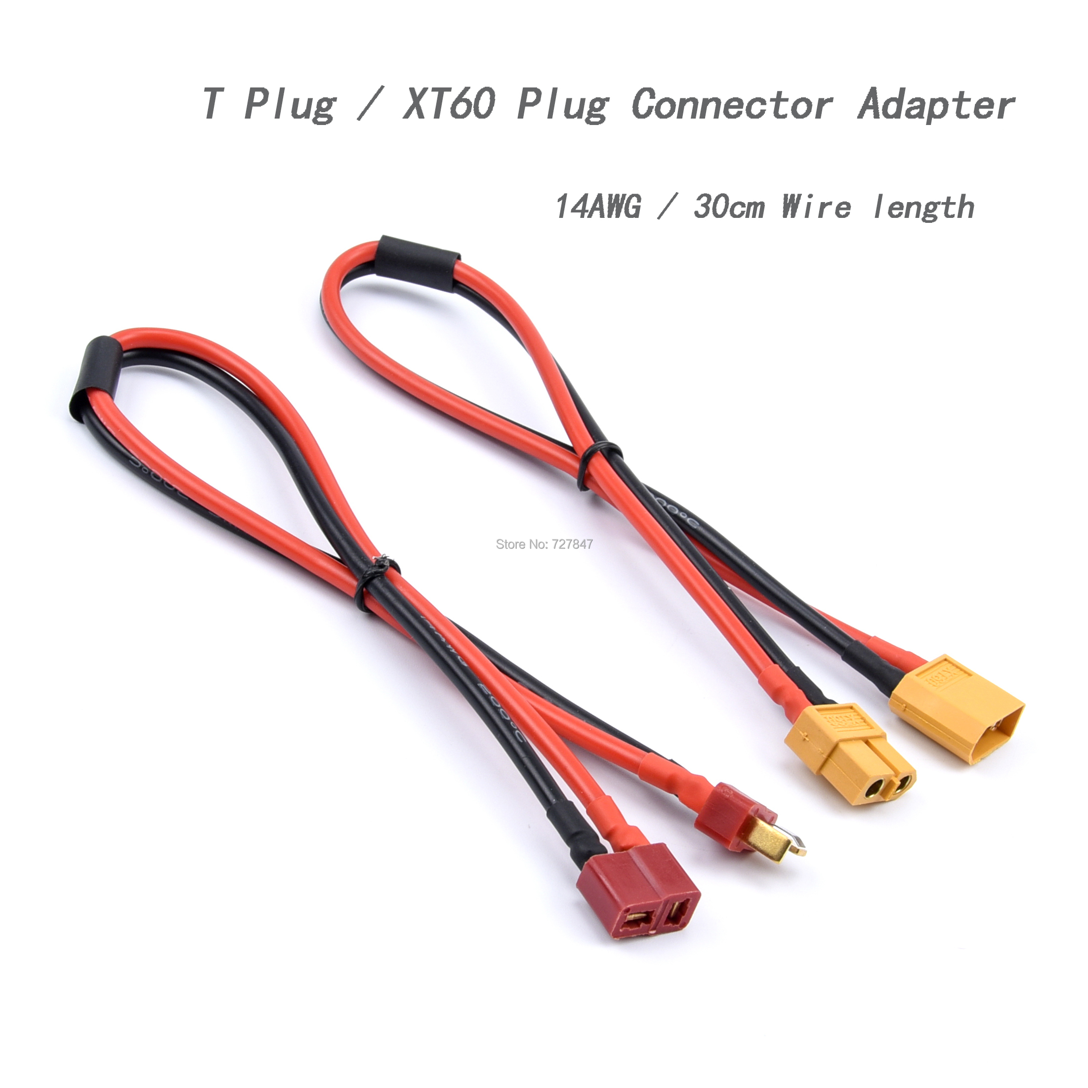 FPV XT60 / T Plug Female Male Connector Adapter 14AWG 300mm 30cm Extension Cable Leads Adapter For RC Lipo Batter