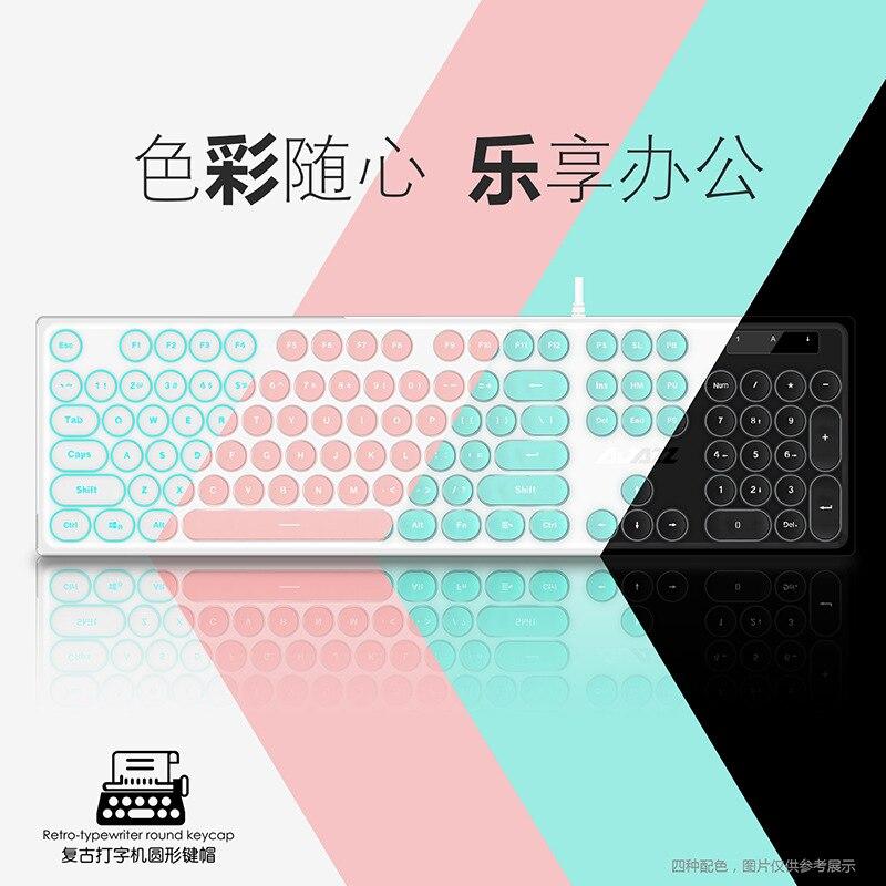 Ajazz AK325 Pink Machinery Handfeel Keyboard Girl'S Punk Keyboard Desktop Gaming Keyboard Illuminant Keyboard