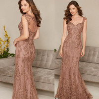 Lace Appliques Mermaid Mother of the Bride Dresses 2020 Plus Size Floor Length V Neck Long Formal dress Evening Party Gowns