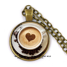 2019 Trendy Cappuccino Pendant Heart Coffee Necklace Hot Chocolate Art Jewelry For Girl Glass Cabochon Pendants Necklaces(China)