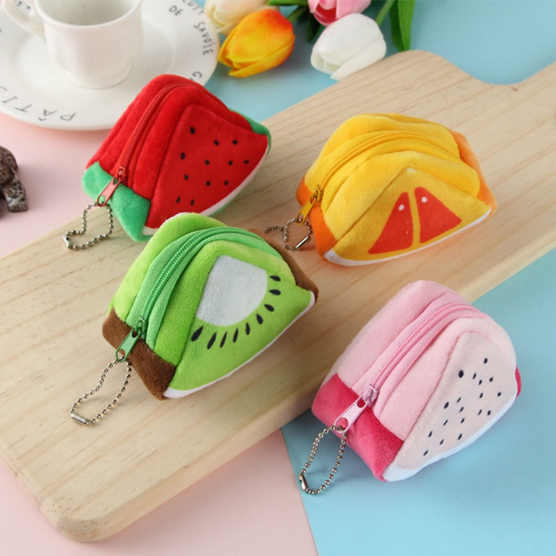 1PCS Girls Kids Coin Purse Children's Holiday Gift Creativity Plush Triangles Fruit Coins Mini Keybag Porte Monnaie Femme Wallet