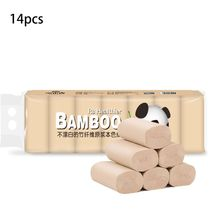 14 Rolls Natural Bamboo Pulp Roll Paper Toilet Paper 4 Layer Thickened Soft Strong for Toilet,Towels,Home,Kitchen RVs