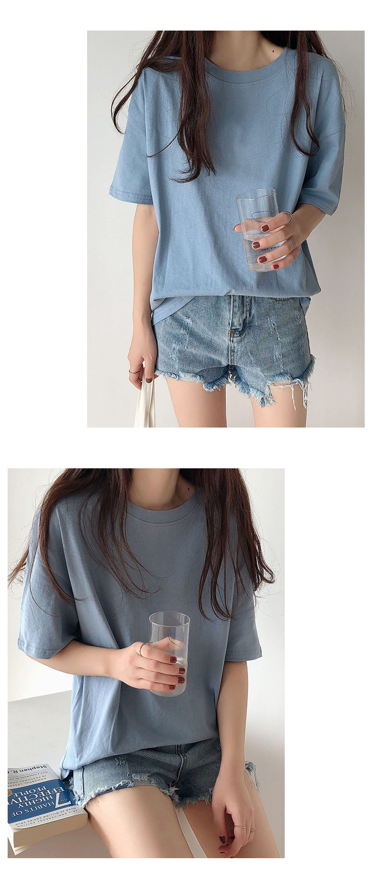 H73c055a89e7641c39681b84cc483fa3cY - Summer O-Neck Short Sleeves Minimalist Loose Basic T-Shirt