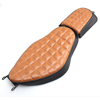 Motorcycle Leather Solo Rider Seat Two-Up Rear Passenger Pillion Seat Pad For Harley Sportster XL 883 1200 Iron 883 2004-2017