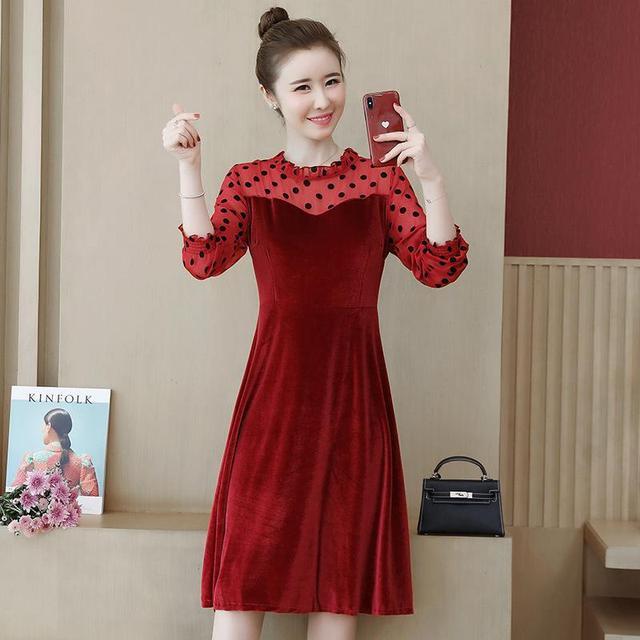 COCOEPPS Big Size Lace Dress Plus Size Autumn Polka dot Mesh Casual vestidos Winter Female Clothes Elegant Party Vestios women