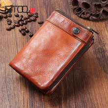 AETOO Handmade leather men's wallet vintage old vertical buckle zipper purse short paragraph multi-card bit leather wallet aetoo original retro wrinkled leather vertical wallet men s short paragraph the first layer of leather wallet zipper small card