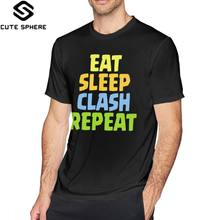 Scontro Reale T Shirt Eat Sleep Clash Ripetere T-Shirt Divertente 100 Camicia di T Del Cotone Stampato 5x Maniche Corte di Base Mens tshirt(China)
