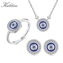 KALETINE Conjunto de joyería de plata de ley 925 con ojo malvado, colgante collar con redondo azul, anillo, pendientes de tuerca para boda