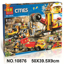 10876 919pcs Compatible 60188 Mining Experts Site Lepining City Mining Building Blocks Bricks Toys Model for Kids As Gifts lepin 02102 city series the mining experts site set with dump truck 60188 building blocks bricks funny toys model kids gifts