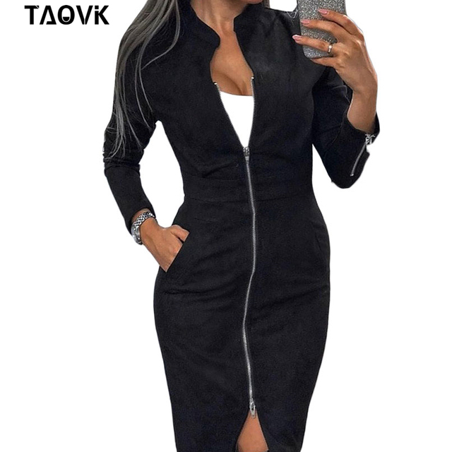 Женское винтажное офисное платье TAOVK, облегающее платье на молнии с длинным рукавом и воротником-стойкой 2