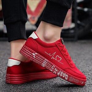 Image 5 - Mulher vulcanizado sapatos primavera verão sapatos casuais senhoras respirável tênis de lona feminino graffiti impresso sapatos planos mais tamanho