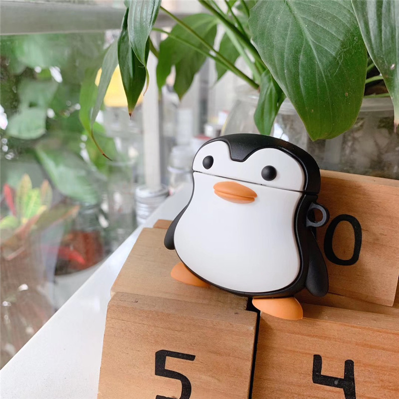 3D Lovely Cute Cartoon Standing Penguin Earphone Case for Airpods 2 Cover Soft Silicone Earphone Cover for Airpods 1 Case Bag in Earphone Accessories from Consumer Electronics