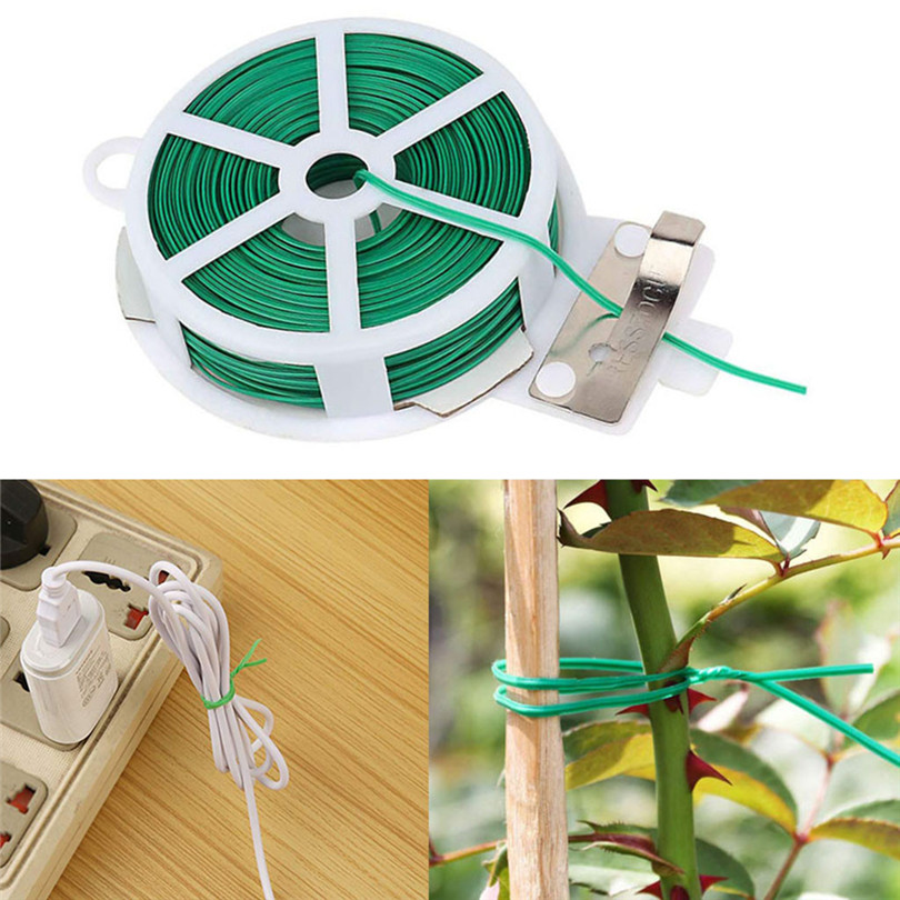 1 Bundle 20/30/50M Garden Flowers Trees Cable Twist Tie Kitchen Bag Gardening Plant Green Tie Wire Roll With Wire Cutter #3D20