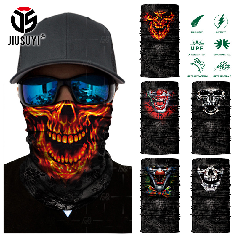Scarf Halloween Summer Skull Ski Joker Clown Tube Neck Cover Face Scarves Bicycle Motorcycle Sport Bandana Headband Headscarf