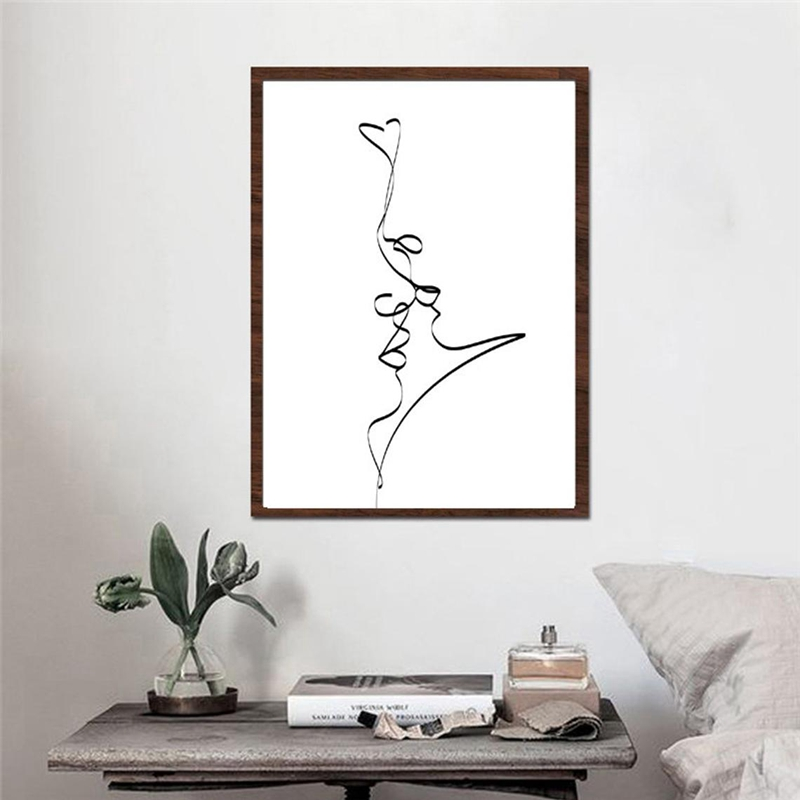 Single Line Love Prints Home Decor