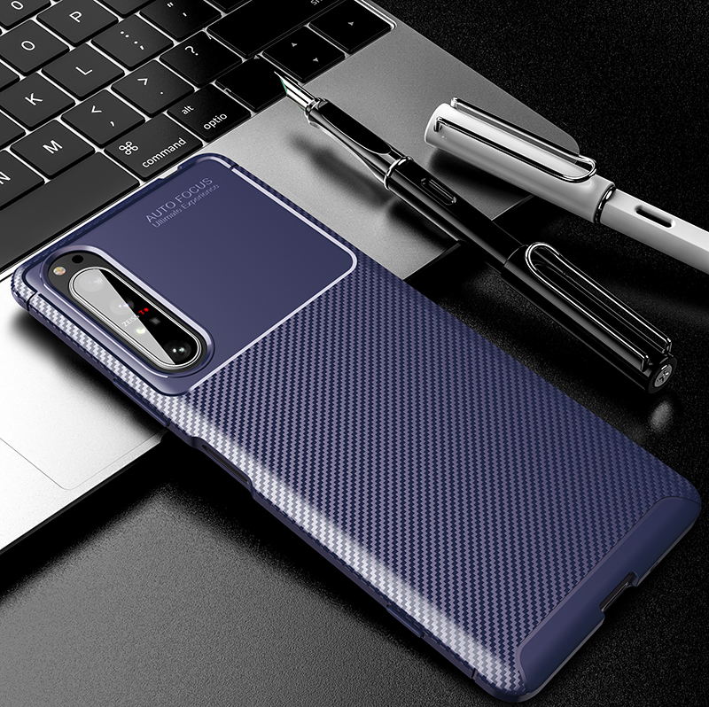 Silicone Protective Phone Case For Sony Xperia 5 II Carbon Fiber Soft TPU Cover Case For Sony Xperia 10 II 1 II Xperia 20 5 8 (10)