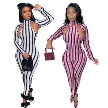 Echoine Women Jumpsuits Striped Cut Out Sexy Club Party Long Sleeve Fitness Bodycon Skinny Workout Activewear Rompers Catsuit long sleeve asymmetric cut out tee