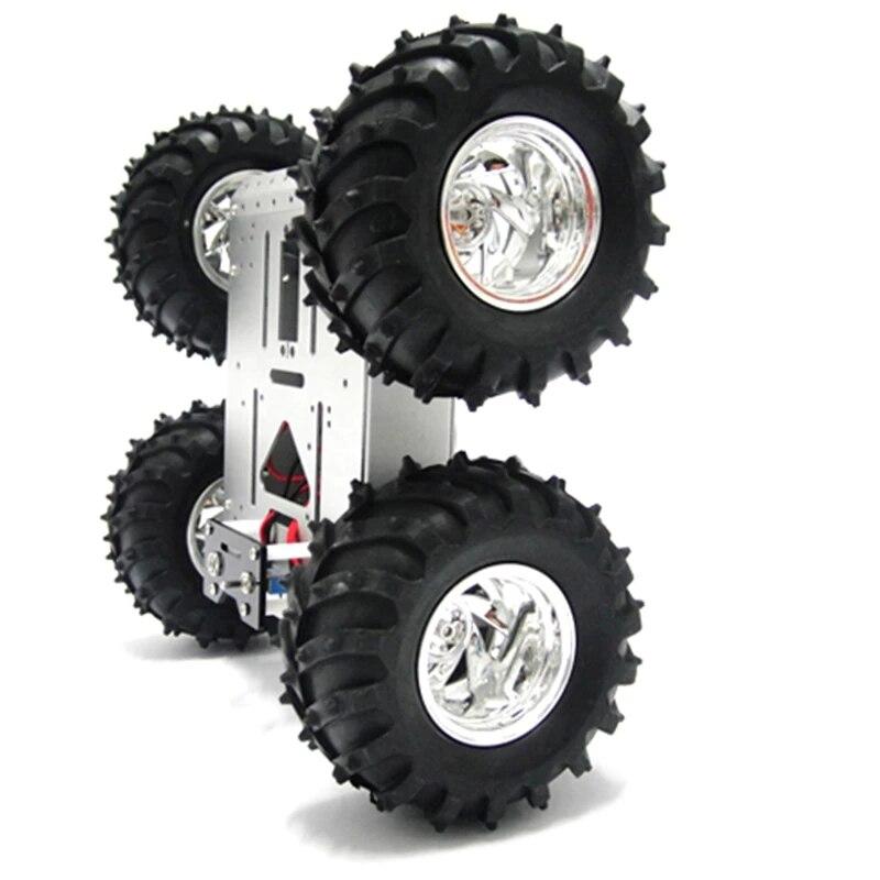 Châssis de voiture Robot intelligent 4 roues motrices pour Arduino, avec roues de 130mm, plate-forme Mobile de voiture, Kit d'expérimentation de traçage de jouets RC, bricolage