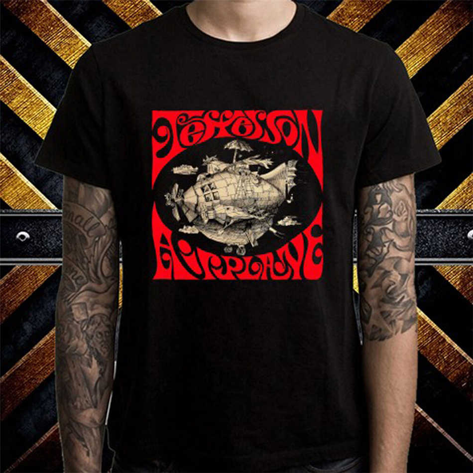 Jefferson airplane rock band legend men preto camiseta tamanho s a 3xl camiseta popular