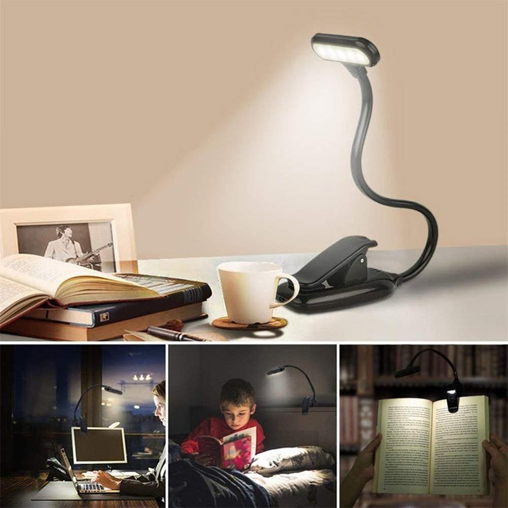 Перезаряжаемый светодиодный USB книжный светильник, светильник для чтения, Гибкая Книжная лампа, диммер, настольная лампа с зажимом, портати...