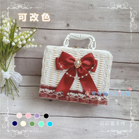 10Colors Lolita Rattan Box Woven Basket Tea Party Gorgeous Bow Handbag Storage Box Girl Cosplay Rattan Suitcase Accessories