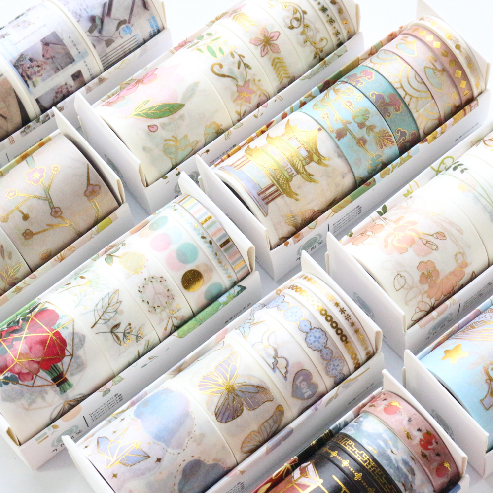 Domikee Cute Kawaii Chinese Gold Foil Bullet Journal Craft DIY Washi Tapes Set Scrapbooking Diary Masking Tape Stationery 6pcs