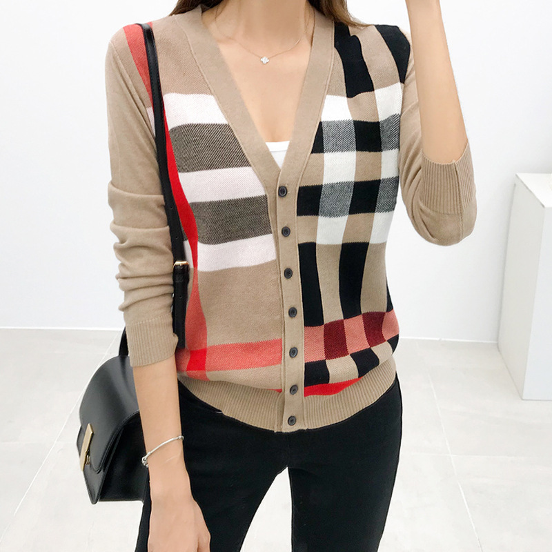 Cardigan Sweater WOMEN'S Dress 2019 Autumn Clothing New Style Foreign Trade Contrast Color Korean-style Sweater Early Spring Coa