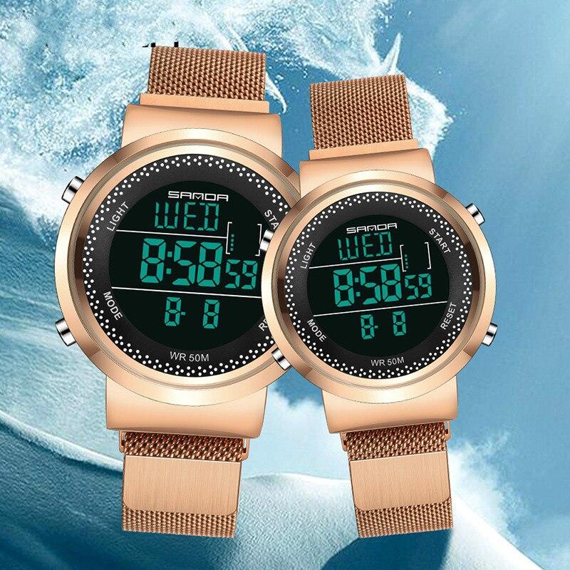 New Fashion Stainless Steel Mesh Waterproof Quartz Watch Sport Electronic Digital Couple Watch Fashion & Casual  Luxury  Watches