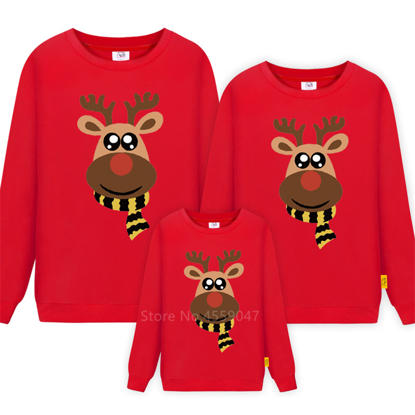 Christmas Sweatshirt Family Look Matching Outfits Long Sleeve Print Elk Cotton Red New Year Mommy Toddler Daughter Clothes
