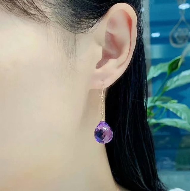 shilovem 18K yellow Gold Piezoelectric Amethyst stud earrings wedding fine Jewelry trendy  gift new 13*16mm  plantmyme1316832z 6