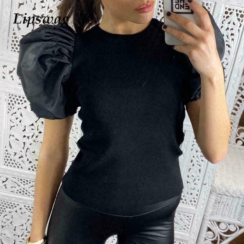 Elegant Summer Puff Short Sleeve Shirt Blouse Spring Women Rib Knitted Pullover Tops Casual Solid Female Streetwear Blusas Mujer