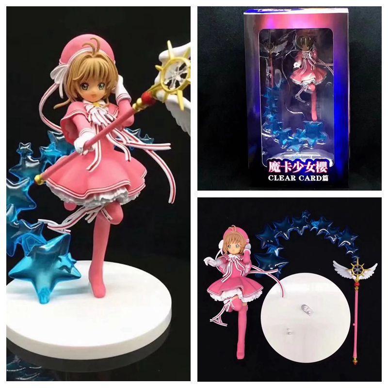 Anime Girl Card Captor Sakura Clear Card The Clow EXQ Kinomoto Sakura With Battle Magic Wand PVC Action Figure Model Toys Doll