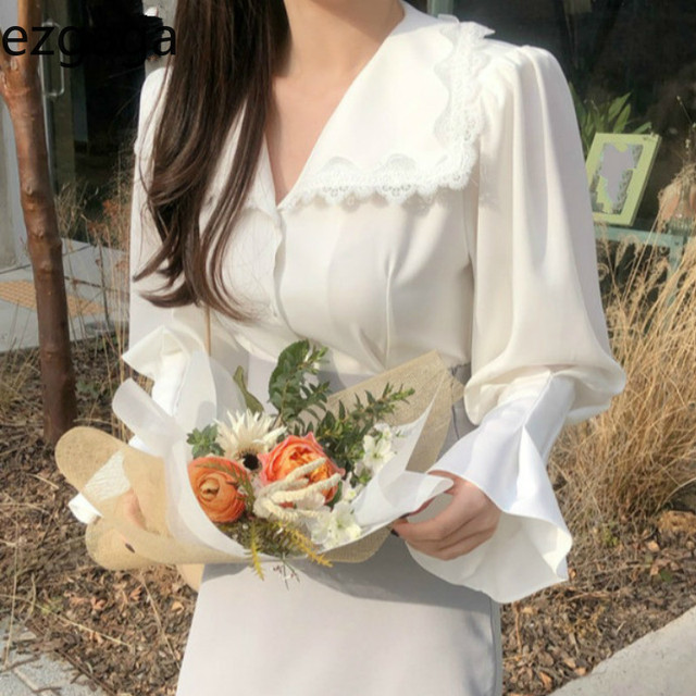 Ezgaga Lace Patchwork Elegant Shirts Turn-Down Collar Long Flare Sleeve Chic French Style White Shirts Office Lady Tops Fashion 1