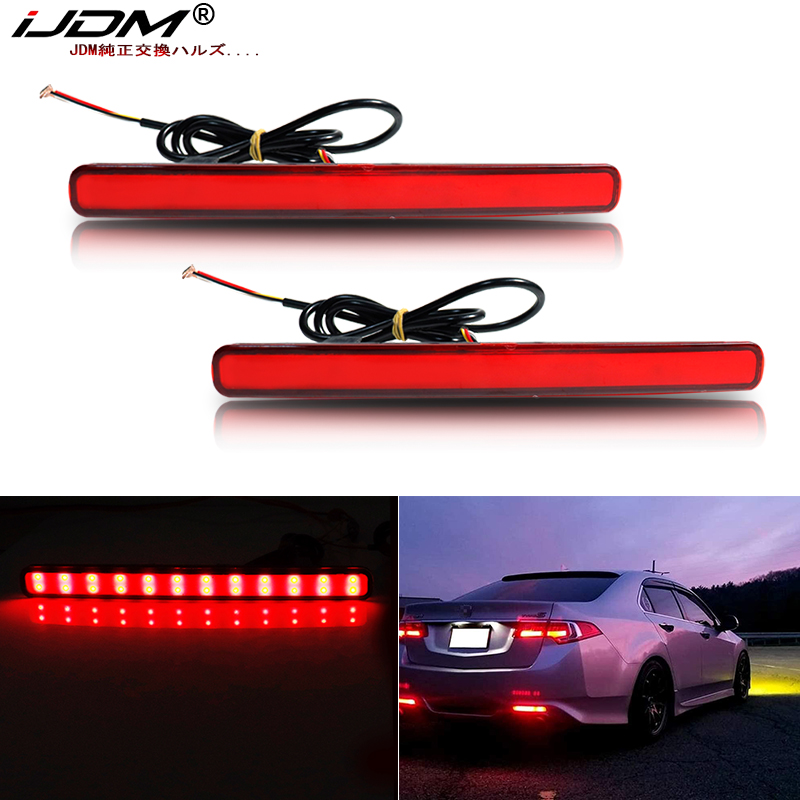 iJDM Red LED <font><b>Bumper</b></font> Reflector Lights For 09-14 <font><b>Acura</b></font> <font><b>TSX</b></font> (For Euro Accord) Function as Tail,Brake & Rear Fog Lamps Turn Lights image