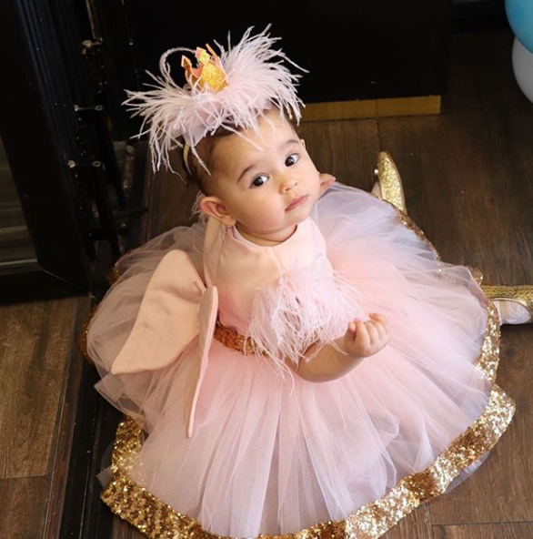 Cute pink flower girl dress golden sequin tulle toddler pageant costume kids Princess dress tutu outfits