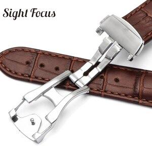 Image 4 - 18mm 19mm 20mm 21mm Bracelet en cuir pour Omega montre vitesse couturière Bracelet fermoir déployant noir marron Bracelet de montre Bracelet ceinture