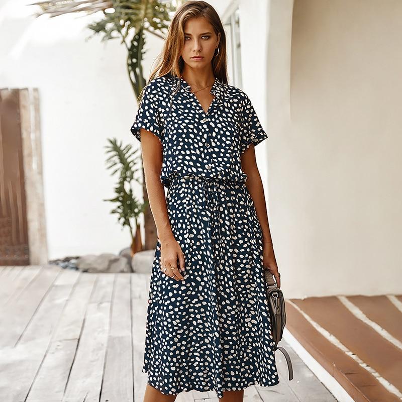 Fashion Polka Dot Print Dress Women High Waist Sashes A Line Summer Dress Short Sleeve Single-Breasted Bohemian Midi Dresses 6