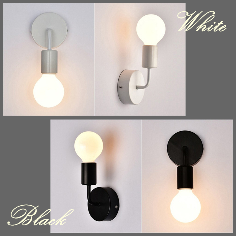 Modern E27 Wall Lamp Nordic Iron Simple Stylish Wall+lamp Led Light Bulb Wall Light Indoor Bedside Lamp Decoration For Home Lamp