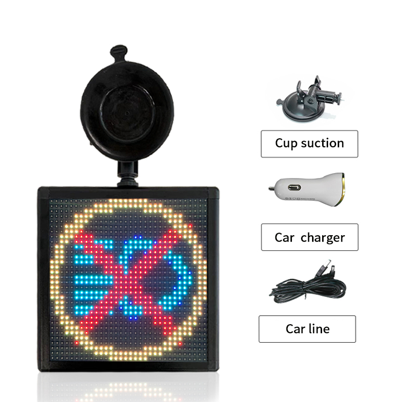 Bluetooth Programmable Car LED Display Sign APP Control Turn On Off By Phone With 5V USB Cable And 12V Ciga Lighter Adapter