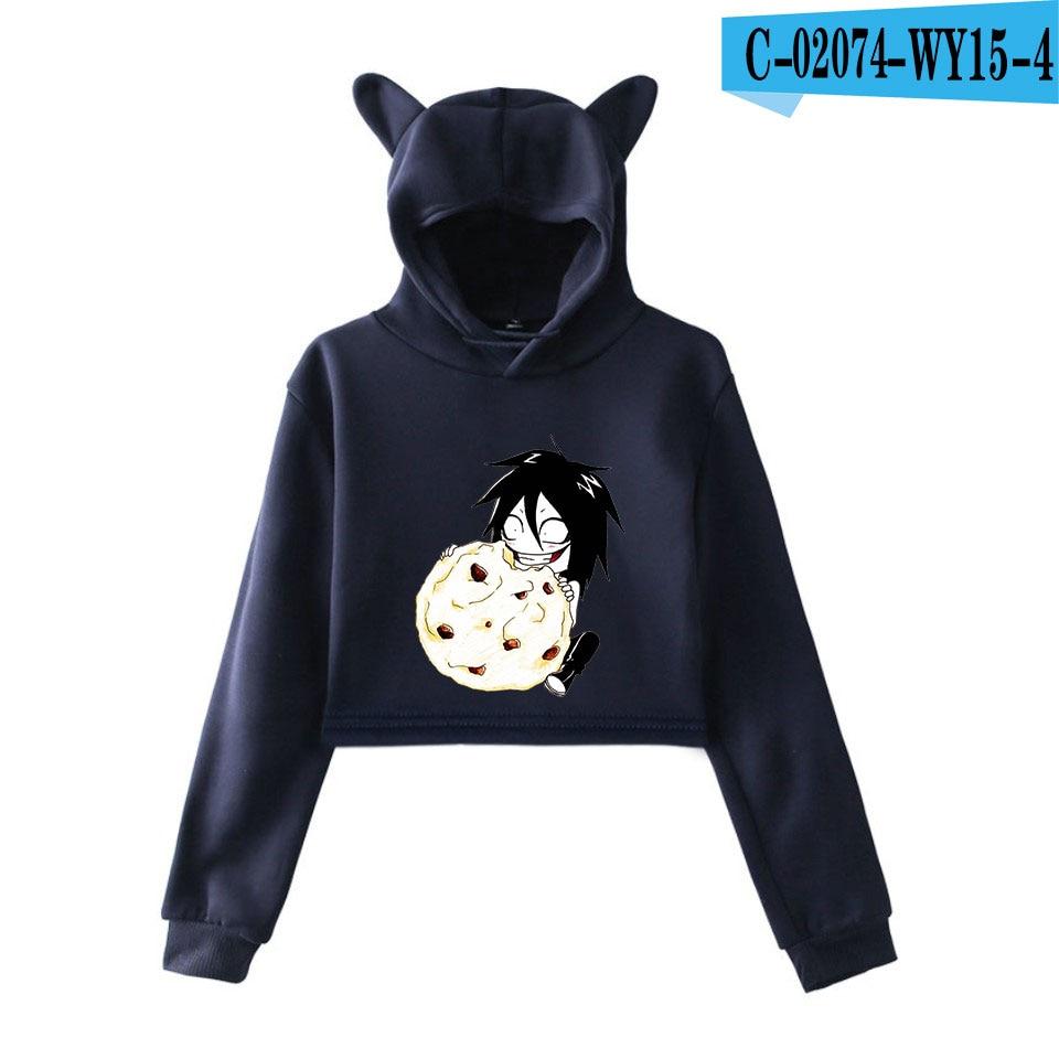 unique horror atmosphere of black humor creepypasta  print fashion trend Cat ears Top Women Hoodies Sweatshirt Sexy clothes 6