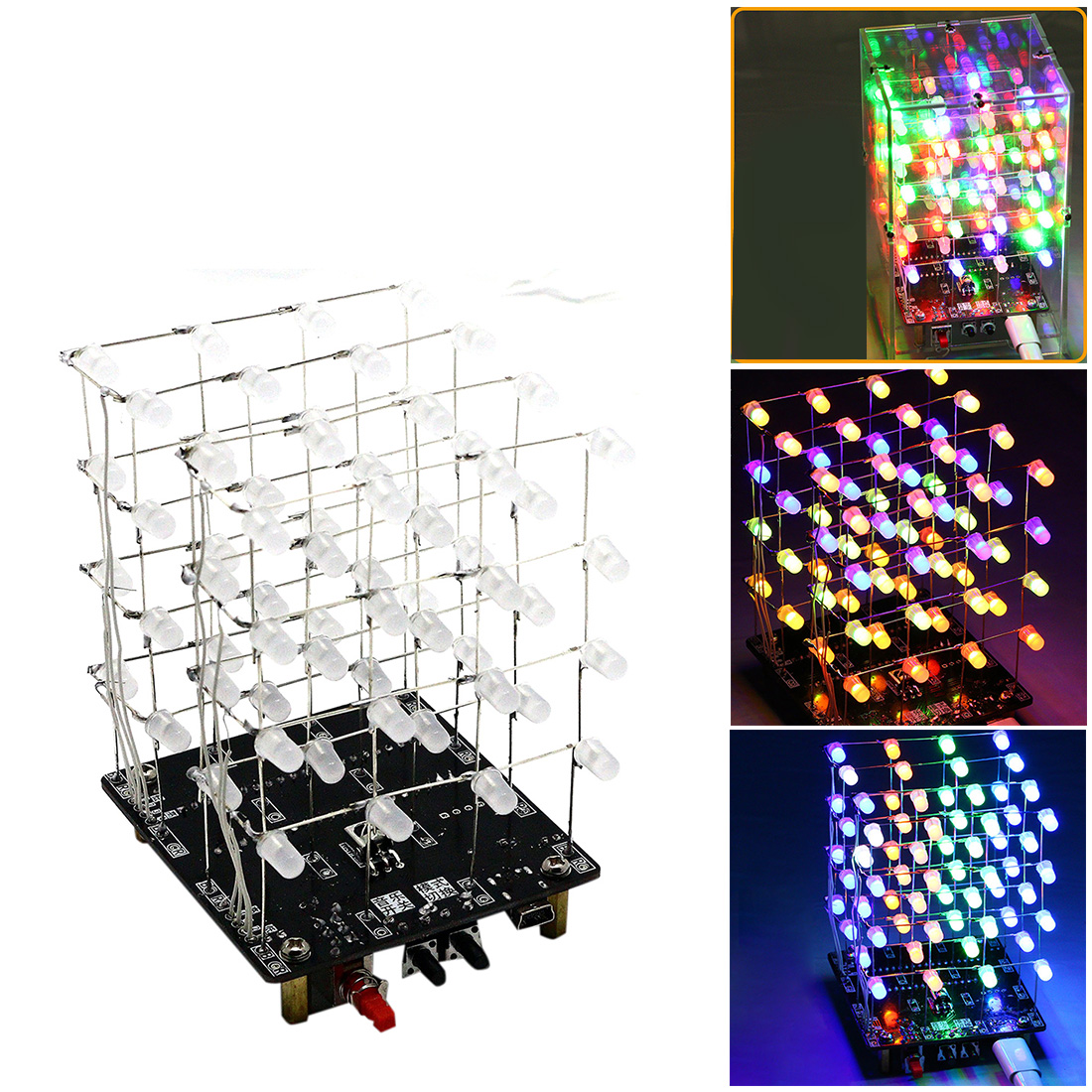 DIY Welding Electronic Bulk Parts Music Light Cube Kit (Remote Control, Seven Colours Changing, USB Power Supply) For Children