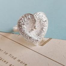 Кольца из стерлингового серебра 999 пробы для женщин, большой, в стиле бохо, кольцо с сердцем, обручальное регулируемое роскошное ювелирное изделие ручной работы, украшения в стиле бохо, этнические