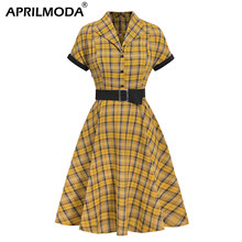 2020 Lente Gele Britse Plaid Vintage Jurk Turn Down Hals Riem Korte Mouw Swing Party Gewaad Rockabilly 50S Retro vestidos(China)