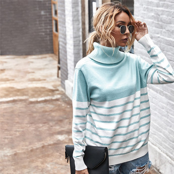 Autumn Winter Fashion Turtleneck Sweater Women 2020 Striped Knitted Jumpers Long Sleeve Oversize Tops Ladies Vintage Pullovers vintage cartoon knitted loose autumn winter sweaters women 2020 casual pullovers sweater oversize o neck long sleeve ladies tops