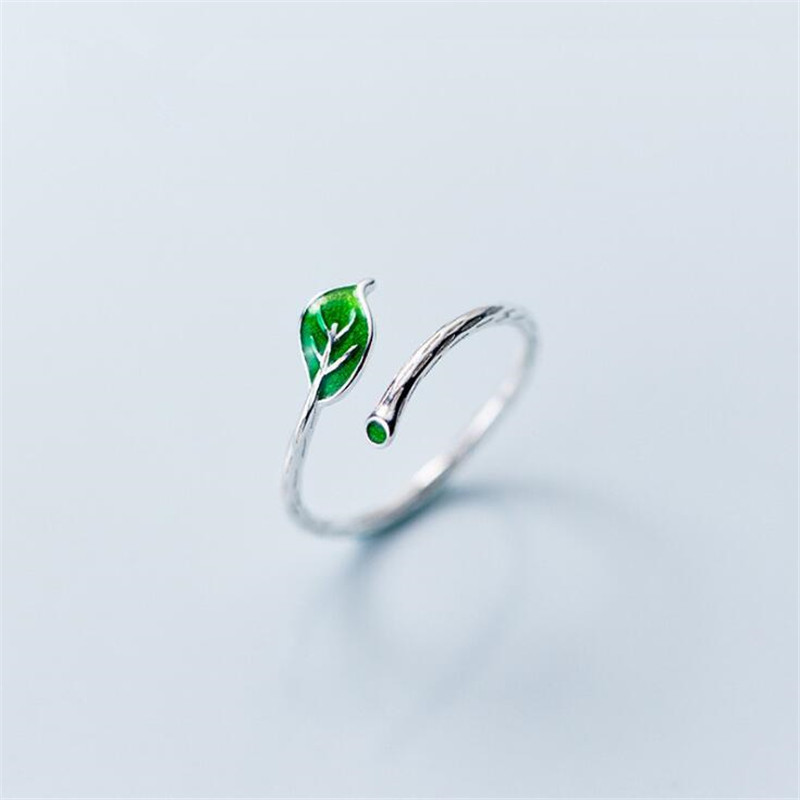 New Fashion Simple Green Leaf 925 Sterling Silver Jewelry Not Allergic Literary Temperament Exquisite Women Opening Rings  SR586