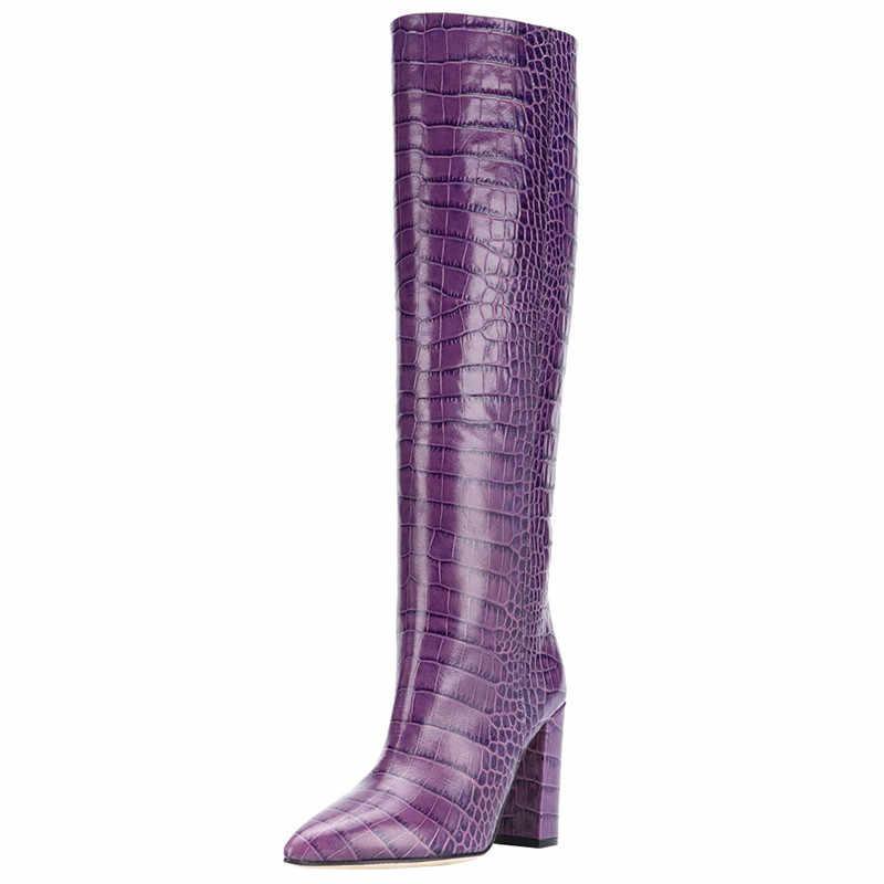 ASUMER 2020 yeni marka kadın diz yüksek çizmeler sivri burun kayma avrupa tarzı yüksek topuklu ayakkabılar moda uzun çizmeler kadın