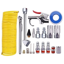 Air-Compressor-Accessory-Kit with 1/4inch-X-25ft Coil-Nylon Hose/Tire-Gauge 20pieces
