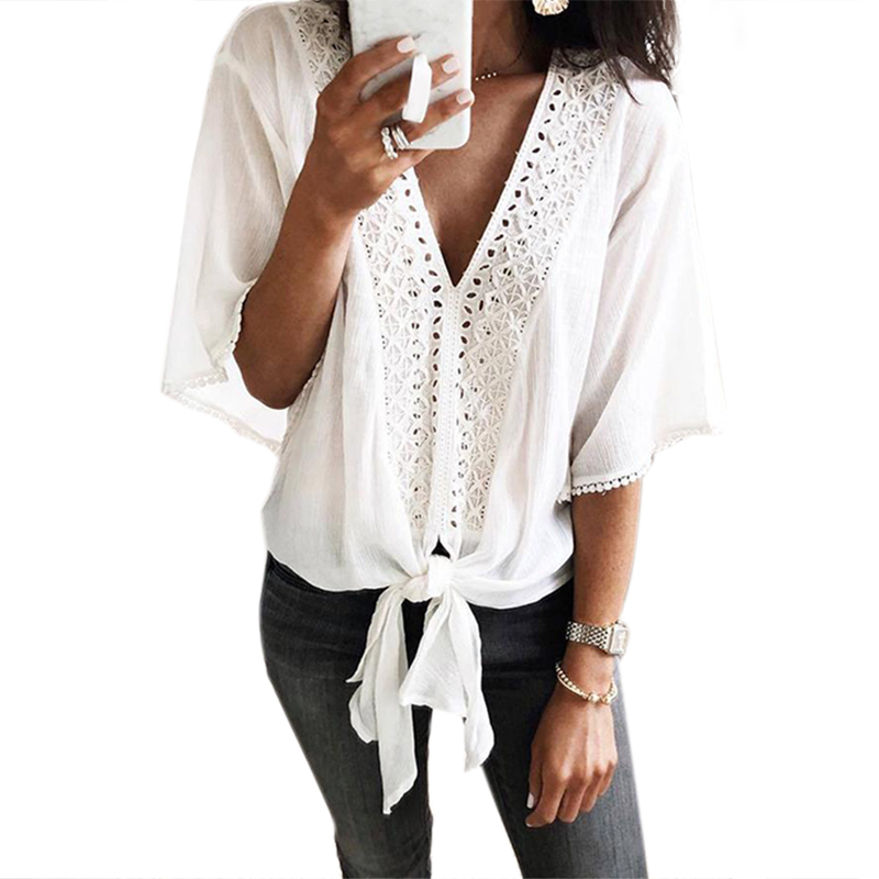 Women T-<font><b>Shirt</b></font> New Sexy Lace <font><b>Shirt</b></font> Female Loose Cover <font><b>Belly</b></font> V-Neck <font><b>Shirt</b></font> Top <font><b>White</b></font> Color <font><b>Shirt</b></font> M image