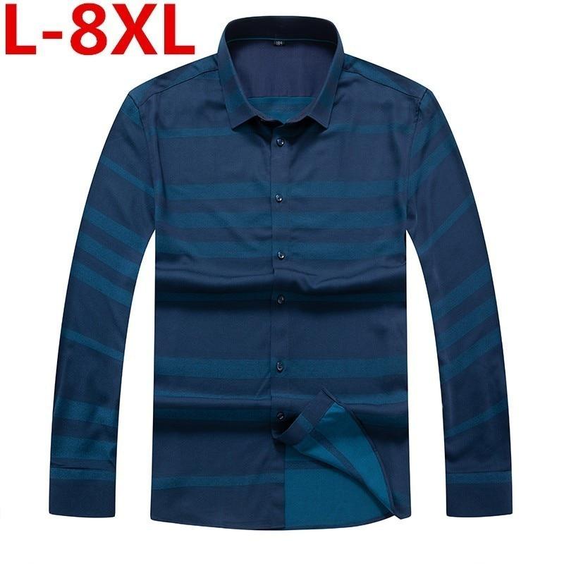 High Quality Mens Business Casual Long Sleeved Shirt Men 8XL7XL Plus Size Shirt Classic Striped Male Social Dress Shirts Outwear