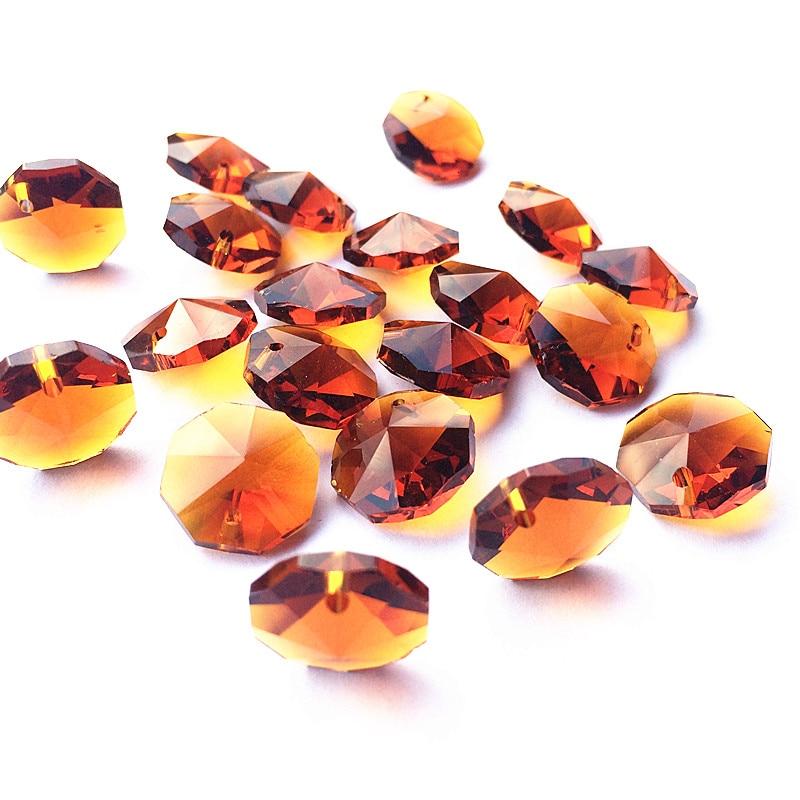 Высокое качество 20 шт./лот многоцветный 14 мм хрустальные Восьмиугольные бусины в одном отверстии K9 кристаллы части для люстры аксессуары DIY Свадебные и x-дерево украшения - Цвет: Brown